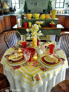 ♥ these colors for dining Cute way to use my red accessories and glasses in a new way in spring---vintage cute!!