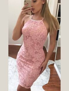 best=Lace Halter Sheath Column Short Mini Prom Dresses , Looking for that Perfect Prom Dress? Want to look amazing at the dance? Vintage Homecoming Dresses, Two Piece Homecoming Dress, Homecoming Dresses Long, Fitted Prom Dresses, Best Prom Dresses, Nice Dresses, Spring Formal Dresses, Cheap Short Prom Dresses, Formal Dress Shops