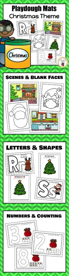 Work on fine motor skills with these fun Christmas themed playdough mats!  Create letters, faces, shapes and more!