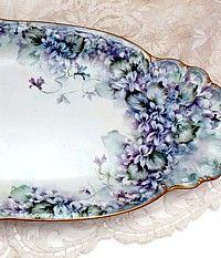 Stunning Victorian Limoges France One of a Kind Huge Hand Painted Porcelain Tray Violets