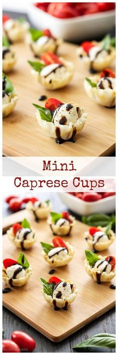 Mini Caprese Cups   Caprese salad stuffed into a mini phyllo cup and drizzled with balsamic glaze! An easy to make one bite appetizer!