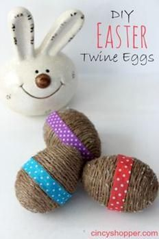 DIY Twine Easter Eggs. Easy and inexpensive Easter decor plain or decorated.