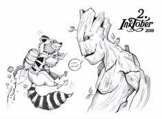 2. Inktober 2016 – Groot Fanart, Groot, Marvel, Rocket Racoon, Guardians of the Galaxy