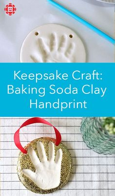 Craft: Baking Soda Clay Handprint Ornaments Here's a sweet and easy DIY for your kids to make for loved ones.Here's a sweet and easy DIY for your kids to make for loved ones. Crafts For Kids To Make, Christmas Crafts For Kids, Baby Crafts, Toddler Crafts, Holiday Crafts, Christmas Diy, Baby Christmas Ornaments, Homemade Christmas, Clay Handprint