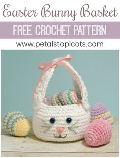 A darling little bunny basket to fill with Easter treats! This Easter bunny basket crochet pattern is quick and simple to work up and features long bunny ears that double as a handle. Pair it with somecrocheted Easter eggsfor a pretty holiday display!You can find myfree Easter egg pattern here. #petalstopicots