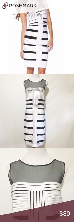 FRANK LYMAN WHITE AND BLACK DRESS GUC Frank Lyman Fully Lined White Dress Interspersed with Narrow Black Horizontal Panels. Straight Across Bustline with Fine Mesh Detail Above to Form Straps to a Round Neckline. Frank Lyman Dresses Midi