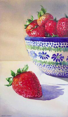 """Paintings By Kara K. Bigda: """"Polish Strawberries"""""""
