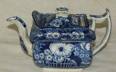 217: Adams blue floral teapot
