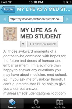 Med student blog, humorous and insightful for want to be med students