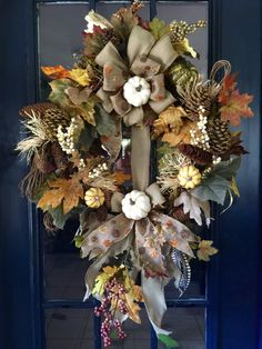 A personal favorite from my Etsy shop https://www.etsy.com/listing/247820931/fall-wreath-harvest-wreath-thansgiving