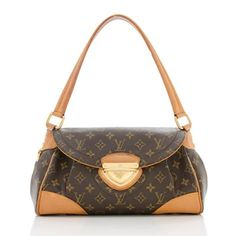 This classic Louis Vuitton shoulder bag is made from traditional brown Monogram canvas with natural leather trim and golden brass hardware. Details include a flat handle, back pocket, and push lock closure. The interior is fully lined with two open pockets.