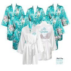 fda6e648b7 Set of 7 Satin Bridal Party Robes with 6 Floral Robes and 1 White Personalized  Robe. Personalized Bridesmaid ...