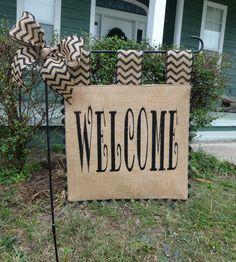 burlap garden flag. Burlap Garden Flag - Welcome Matching Chevron Tabs And Bow E