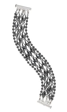 Multi-Strand Bracelet with Hemalyke™ Beads and Silver-Plated Brass Beads
