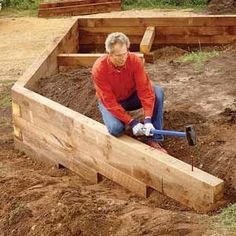 Build a Wood Timber Retaining Wall DIY                                                                                                                                                                                 More