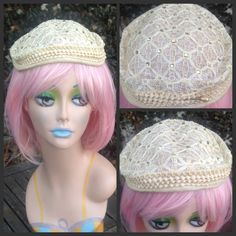 Vintage 1950's Round Cream Straw Ribbon Hat with Embroidered Lace and Rhinestone Detail//Bride,Wedding//Ivory Small Hat Fascinator by VintageDoylestown on Etsy
