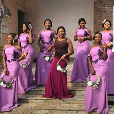 Weddings in most cases happen once in a lifetime. Make it a memorable one by contacting us to sew beautiful outfits for your train. We made this for them and will make yours if given the privilege. Bright Purple Bridesmaid Dresses, African Bridesmaid Dresses, African Dresses For Kids, African Wedding Attire, Mermaid Bridesmaid Dresses, African Lace Dresses, Lace Bridesmaids, Latest African Fashion Dresses, Magenta Wedding