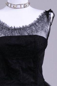 1950's black layered lace dress