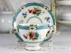 Vintage Tuscan Lowestoft Teacup and Saucer, English Bone China Tea Cup