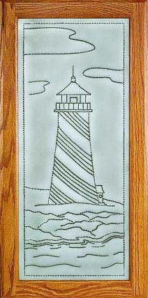 RP-1264 nautical punched tin panel - lighthouse