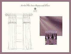 Frosted Plum Linen Drapery Treatment with Flounce