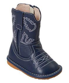 Look at this #zulilyfind! Navy Leather Squeaker Cowboy Boot #zulilyfinds