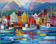 Waterfront reflections-Isabel le Roux Colorful Wall Art, Colorful Paintings, Contemporary Paintings, South African Artists, Africa Art, Bullet Journal Art, Naive Art, Landscape Paintings, Landscapes