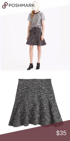 e67b8076b0 J. Crew Plaza Skirt in Tweed Size 8 Women's J Crew Tweed Black White Above