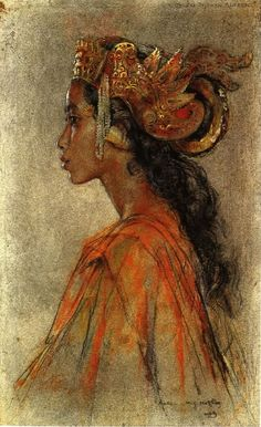 """art-and-things-of-beauty: """"Balinese girls by Willem Gerard Hofker """" Bali Painting, Painting & Drawing, Indonesian Art, Indonesian Women, Old Paintings, Dutch Artists, Portrait Art, Portraits, Black Art"""