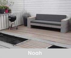 Loungebank Noah  200cm oud steigerhout grey wash licht antraciet kussens