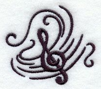 Music's Soothing Swirl - Treble Clef design (E6724) from www.Emblibrary.com