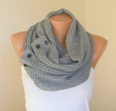 Gray knit lace button infinity scarf circle scarf winter scarfs neck warmer cowl button scarf birthday gifts women's accessory
