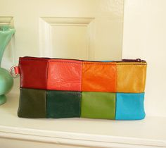 Patchwork Clutch Almost All Recycled Leather by bonspielcreation
