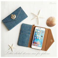【iPhone6/6s/iphone7】 クラッチ型デニムケースIndigoブルー手帳型ケース|iPhoneケース・カバー|Amelie|ハンドメイド通販・販売のCreema