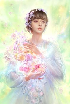 #Artist of The Day: 大葱君yo·J > Flower Fairy - beautiful #fantasy #art