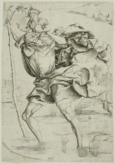 Master M. Z., German,' Saint Christopher', c. 1500, Engraving, Art Institute of Chicago