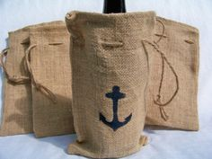 """Burlap Wine Bag with Stenciled Anchor. Bag Size: 6.25"""" x 10"""""""