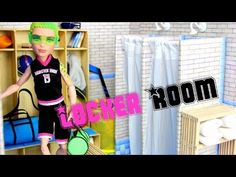 How to Make a doll locker room in a cardboard box. Love the sock towels