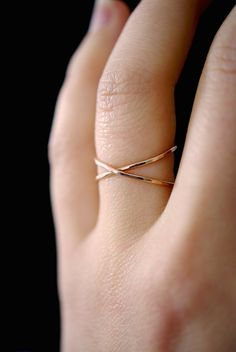 SALE Rose Gold X ring rose gold criss cross ring by hannahnaomi