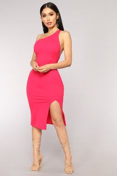 Shannon One Shoulder Dress - Magenta – Fashion Nova Tight Dresses, Club Dresses, Sexy Dresses, Nice Dresses, Casual Dresses, Short Dresses, Fashion Dresses, Party Dresses, Fashion Clothes