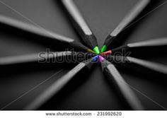 black, colored pencils, on black background, Shallow depth of field - stock photo