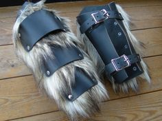 Leather & Fur Barbarian Bracers - Viking Warrior Faux Wolf Fur Arm Guards, Medieval, Renaissance /P/ (AB) Diy Leather Arm Guard, Leather Armor, Leather Cuffs, Black Leather, Barbarian Costume, Leather Braces, Kids Braces, Armor Clothing, Viking Warrior