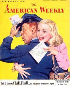 Tallulah Bankhead Frank Yerby Pee Wee Reese Baumhofer Art 1952 American Weekly | eBay