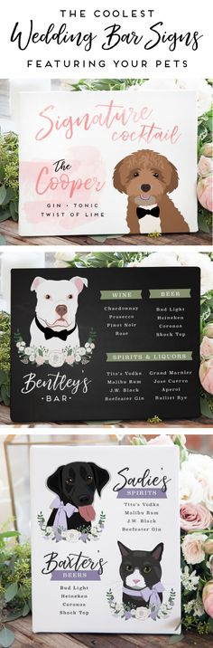 Nothing makes your wedding more personal than including your pet! Add some furry flair to your wedding bar menu or signature cocktail sign but having Perfect Wedding, Fall Wedding, Diy Wedding, Dream Wedding, Wedding Images, Trendy Wedding, Wedding Reception, Wedding Stuff, Wedding Ideas