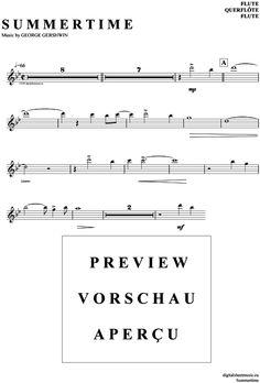 Summertime (Querflöte) George Gershwin [PDF Noten] >>> KLICK auf die Noten um Reinzuhören <<< Noten und Playback zum Download für verschiedene Instrumente bei notendownload Blockflöte, Querflöte, Gesang, Keyboard, Klavier, Klarinette, Saxophon, Trompete, Posaune, Violine, Violoncello, E-Bass, und andere ...