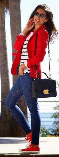 Red peacoat. Street fall autumn elegant women fashion outfit clothing stylish apparel @roressclothes closet ideas