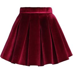 Chicwish Glossy Velvet Pleated Mini Skirt in Burgundy ($30) ❤ liked on Polyvore