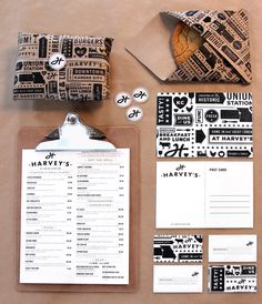 The look and feel for the new Harvey's takes inspiration from the historic Harvey House Diner in Kansas City's Union Station. Retro choices in all aspects of the design hearken back to the early-Modernist era of the original restaurant. Both iterations' core values—quality food, quality service and quality company—manifest in the quality of the debonair but not hoity-toity style.   via Art of the Menu // Under Consideration