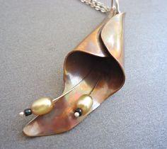Copper Pendant Calla Lilly. Sherry Kelaidis, via Etsy.
