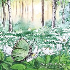 A butterfly at the grove postcard - Annukka Palmén - Postcard Paper, 100th Day, Watercolor Paintings, Art Pieces, How To Draw Hands, My Arts, Butterfly, Ink, Green